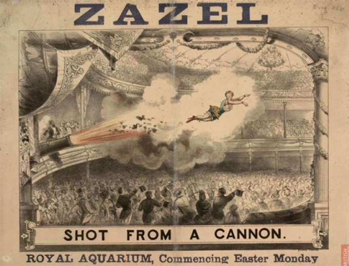 Tờ rơi quảng cáo cho màn biểu diễn súng thần công người của Rossa tại Thủy cung Hoàng gia. Ảnh: Flickr/ Eleanor Jaekel.