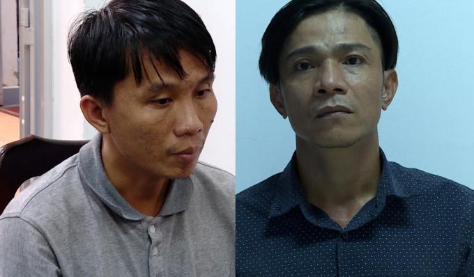 Trần Anh Tuấn (trái) và Lê Minh tại cơ quan công an. Ảnh: Quang Bình