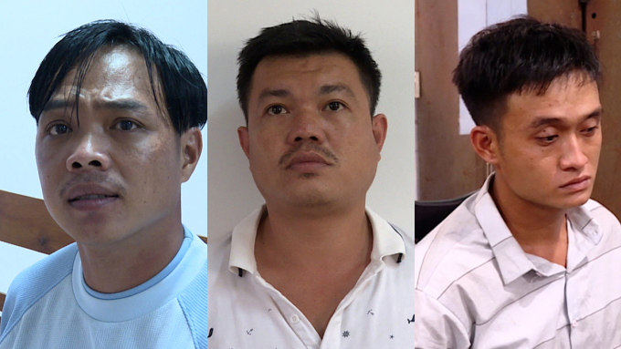 Ba đồng phạm Sang, Vương, Tín. Ảnh: Quang Bình