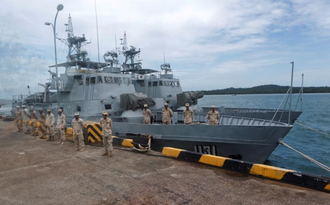 Binh sĩ Campuchia tại căn cứ hải quân Ream ở Sihanoukville 2019. Ảnh: Reuters.